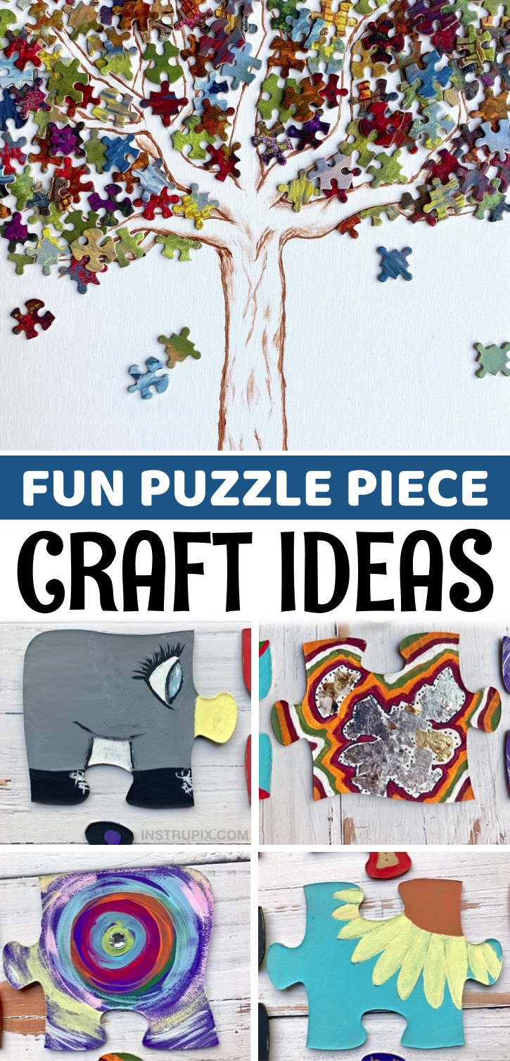 Creative projects to try for kids, teenagers and adults! Do you have any old jigsaw puzzles laying around taking up valuable shelf space? Put those colorful pieces to use! There are so many awesome ways to be creative with unwanted puzzles including easy crafts, wall art, room decor, group projects, gifts and much more. These simple craft ideas are cheap, easy and a great way to recycle both small and large puzzle pieces. Even as an adult, I really enjoyed making these creative crafts.