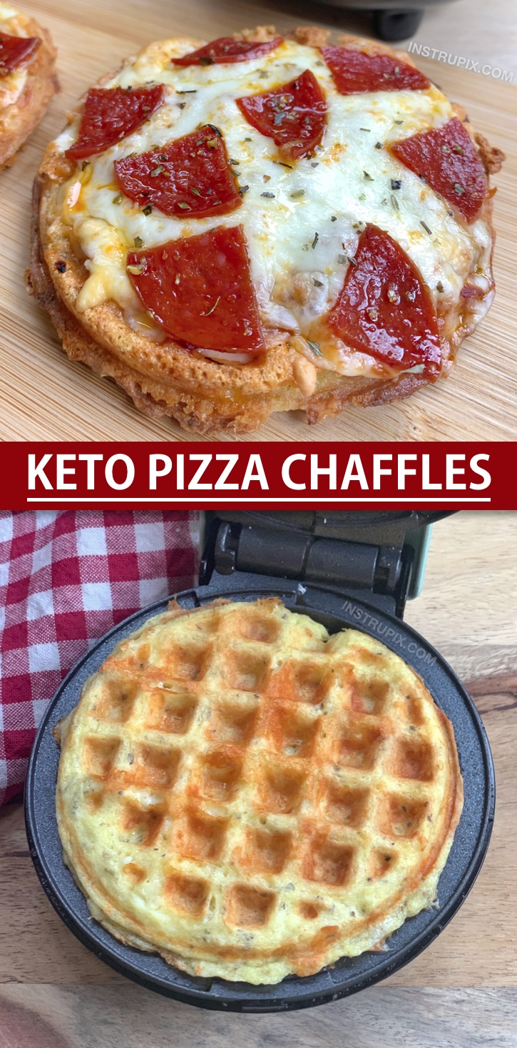 Easy Keto Pizza Chaffles Recipe Made With Almond Flour. So crispy and simple to make! This is an easy low carb dinner recipe for beginners and the entire family will devour them, even the kids! Simply make the crispy keto friendly pizza crust in a mini waffle maker and then bake in the oven with shredded cheese and toppings. #instrupix #chaffles