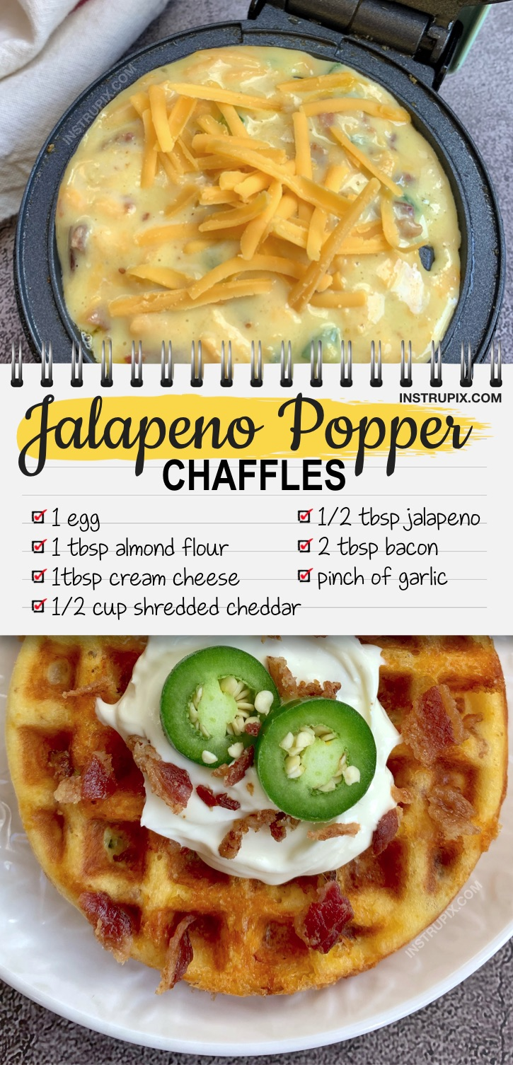 Looking for easy keto recipes? These savory jalapeno popper chaffles are THE BEST!! Made with almond flour and cream cheese. This is my new favorite keto snack, breakfast and lunch recipe. I could eat them all day long! A great keto recipe for beginners, you won't ever miss carbs again. Add them to your meal plan! Keto friendly, low carb, quick easy and delish. Make them in your mini waffle maker and spread a little extra cream cheese on top. They taste like a cheesy bagel! #instrupix #chaffles