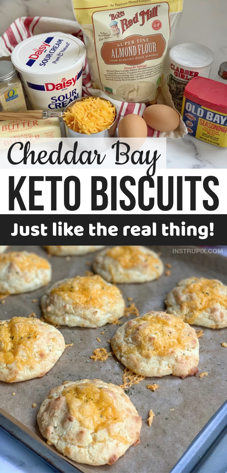 BEST keto side dish! Looking for easy keto diet recipes for beginners? These copycat keto cheddar bay biscuits are to die for! They are made with simple ingredients including almond flour, cheese, sour cream, butter, eggs and seasoning. If you are looking for almond flour keto bread recipes or easy low carb side dishes, your search ends here. These almond flour biscuits go with just about any dinner or bbq including chicken, beef, steak, ribs, fish and more. The BEST keto comfort food! #keto #lowcarb #instrupix #almondflour