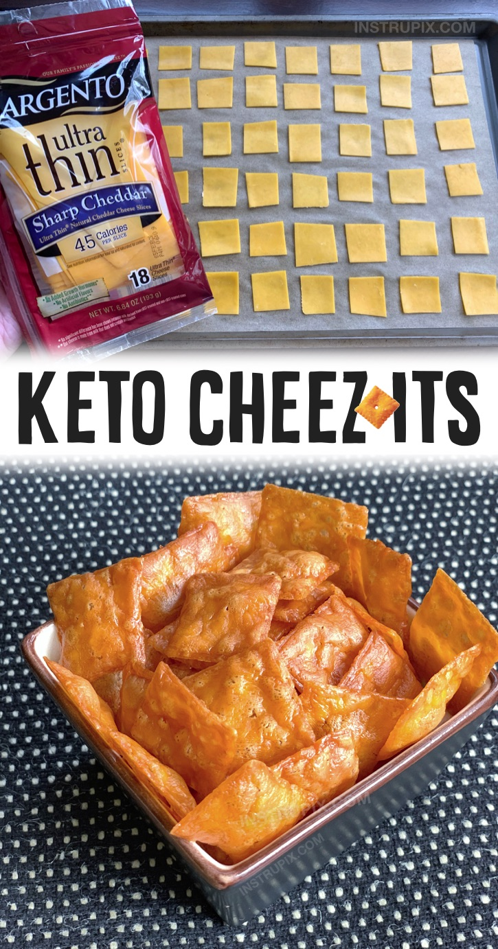 Keto Cheezit Crackers | This easy keto snack is perfect for on the go! Bring them to work or school with you for a satisfying little snack without any guilt. You can use any type of sliced cheese as long as it is really thin. I recommend the Sargento Ultra Thin Cheese. The cheddar tastes JUST like Cheez-Its when it's baked, but you can also use pepper jack or swiss if you'd like. You simply slice the cheese into bite size pieces and then bake them at a low temperature for about 30 minutes. The BEST low carb snack!