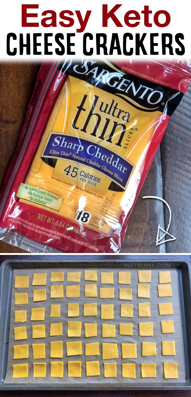 If you're looking for easy and yummy low carb snack ideas, these cheese crackers are made with just one ingredient and have almost zero carbs! You guessed it, cheese. They are so easy to bake in your oven. Just cut thinly sliced cheese into small bite sized pieces, bake and enjoy! You don't have to be on a keto or low carb diet to enjoy them, either. Even your kids will love them, especially if they like Cheez-Its. They are so crunchy and cheesy but with NO GUILT!