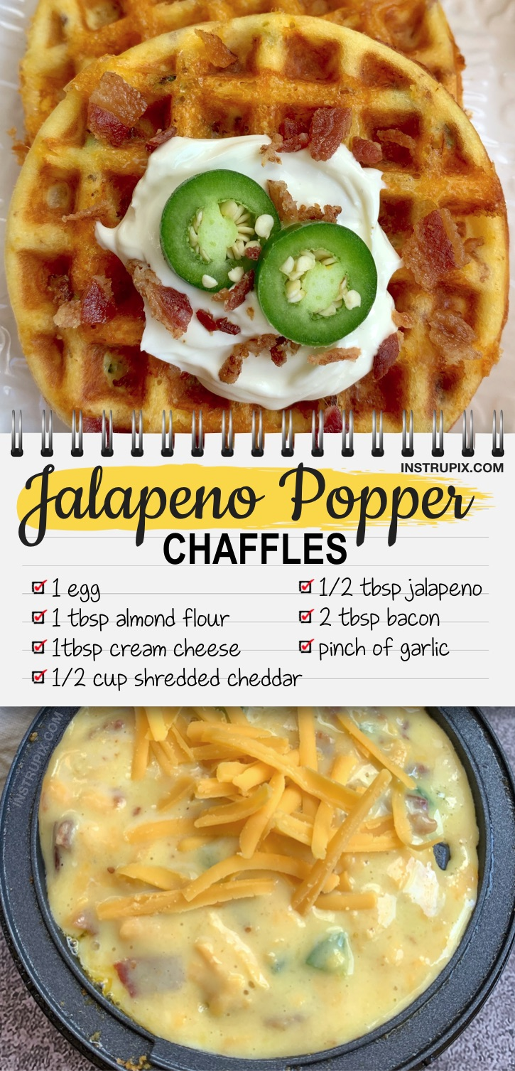 Looking for easy keto recipes for beginners? This savory chaffle recipe is made with simple ingredients: almond flour, cream cheese, egg, cheddar, jalapeno, bacon and garlic. The BEST keto snack made in a mini waffle iron! These are crispy like eating a real jalapeno popper. Eat them as a meal or even as a spicy sandwich bread. If you're looking for keto snack ideas, breakfast recipes or even easy meals, these quick and easy chaffles are very satisfying. Seriously, the BEST! #keto #lowcarb