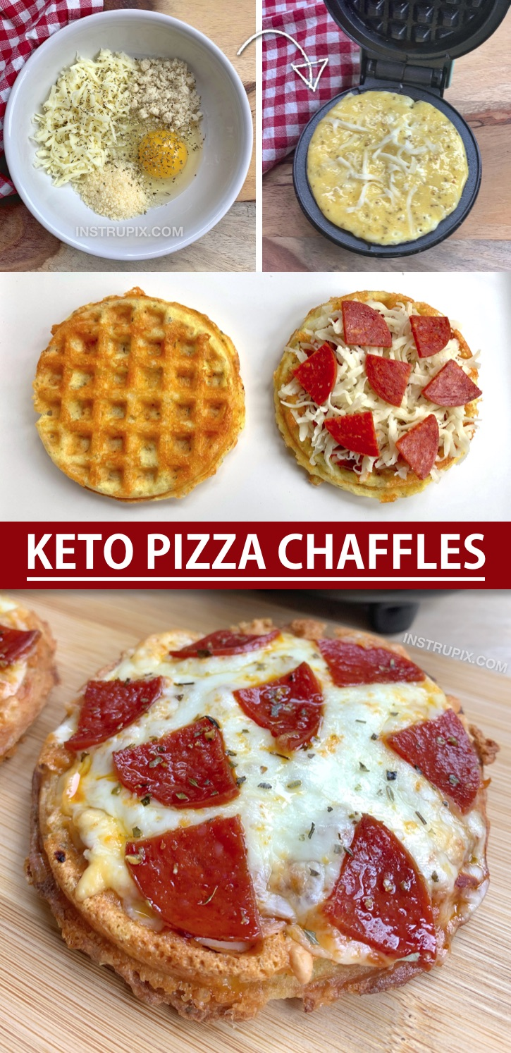 Simple Keto & Low Carb Pizza Chaffles Recipe Made With Almond Flour. So crispy and made with simple ingredients! This is a quick and easy keto dinner idea for beginners. Even kids love them! Simply make the crispy keto low carb pizza crust in a mini waffle maker and then bake in the oven with shredded cheese and toppings. #instrupix #chaffles