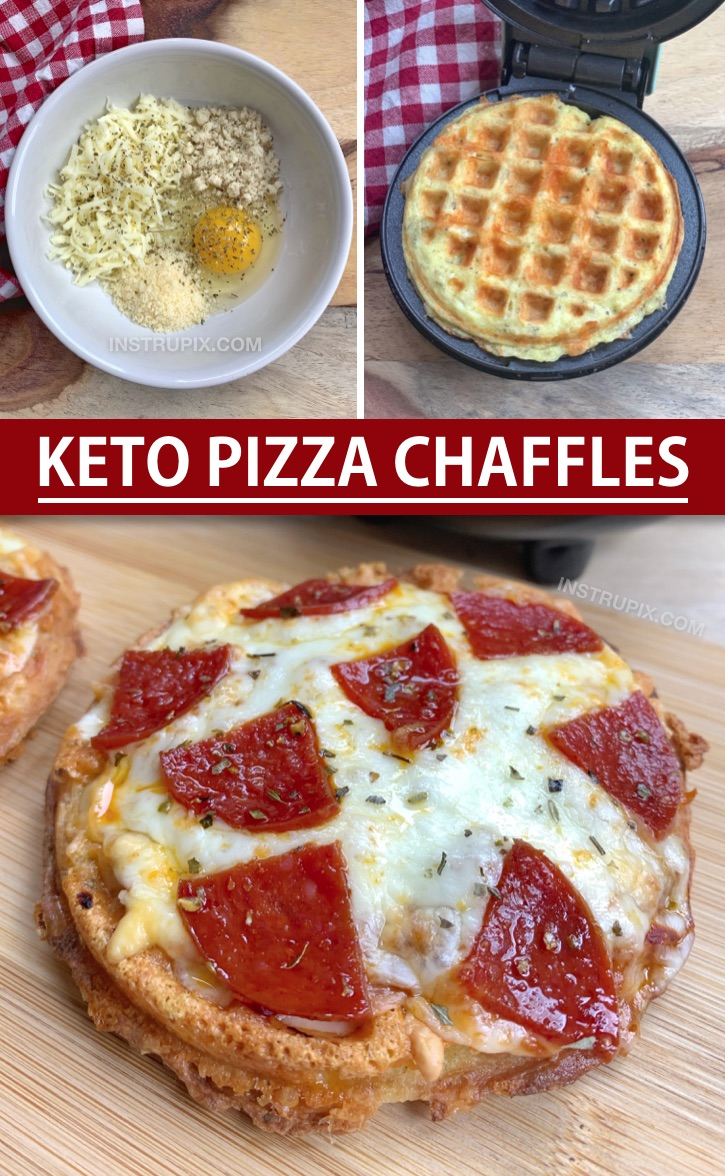 Crispy Pizza Chaffles Recipe Made With Almond Flour. So quick and easy! This is simple keto dinner idea for beginners and the entire family will love them, even the kiddos! Make the crispy low carb pizza crust in a mini waffle maker and then bake in the oven with shredded cheese, sauce and toppings. #instrupix #chaffles