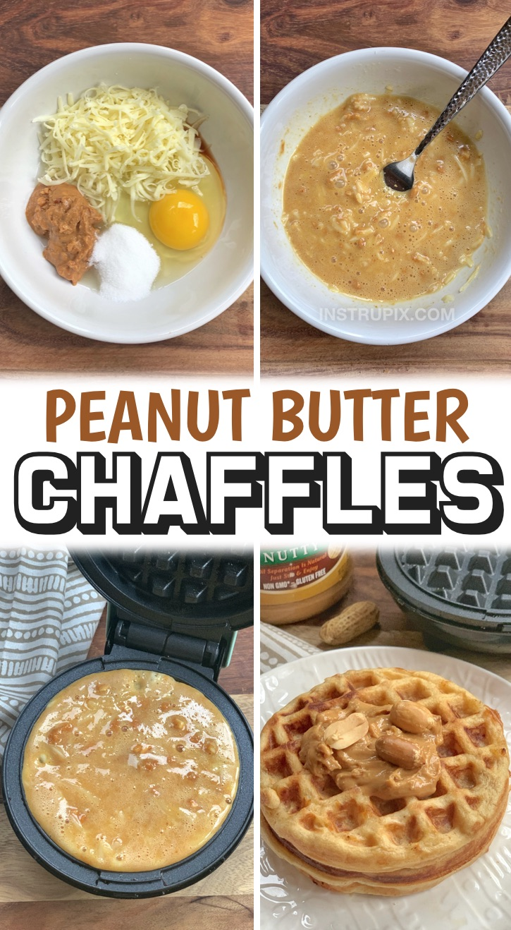 These low carb peanut butter waffles are so quick and easy to make, and they are perfect for a sweet keto breakfast or even midday snack! They taste like a peanut butter cookie. If you're looking for simple keto breakfast recipes and you're tired of eating eggs, you won't believe how yummy these chaffles are. Serve alone or with sugar free syrup. They take less than 5 minutes to make in your mini waffle maker. So yummy, even my kids love them! Perfect if you're on a keto or low carb diet.