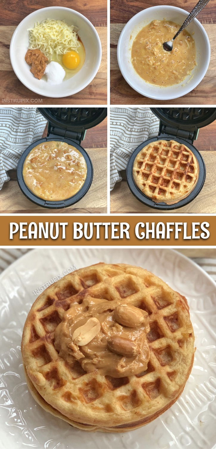 Looking for keto breakfast ideas for beginners? This Easy Keto Peanut Butter Chaffles Recipe is made with just 5 ingredients and only takes a few minutes to make in your mini waffle maker! These peanut butter chaffles are my new favorite sweet low carb breakfast. So simple to make and perfect for beginners on a ketogenic diet. #keto #chaffles #instrupix