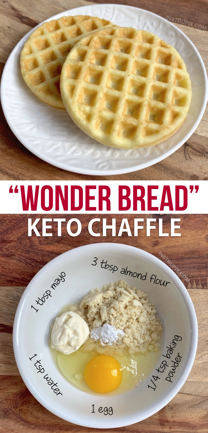 Wonder Bread Keto Chaffle Recipe-- Quick, easy and made in your mini waffle maker! This keto sandwich bread recipe is made with just mayo, almond flour, an egg and baking powder. Just like soft white bread but keto, low carb and guilt-free. Great for beginners! This recipe makes eating low carb a breeze. #keto #chaffles #lowcarb #instrupix
