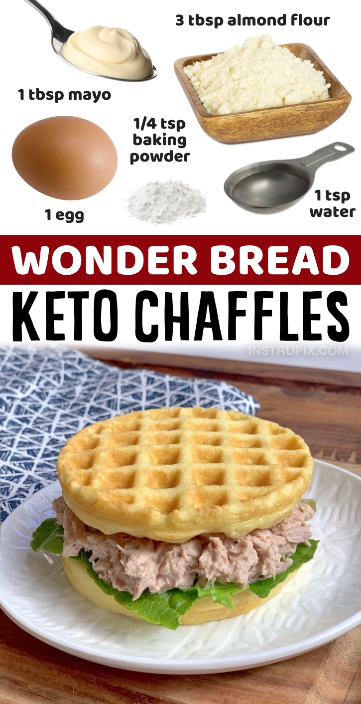 The best keto sandwich bread! Super quick and easy to make in your mini waffle maker in less than 5 minutes. If you're looking simple low carb recipes to make, these soft and delicious chaffles are a must have recipe. Mini waffle makers are super cheap, around 10 bucks at Walmart and they make the perfect size sandwich bread, buns, mini pizza crust and sweet breakfast waffles. Basically, all of your keto bread needs! These
