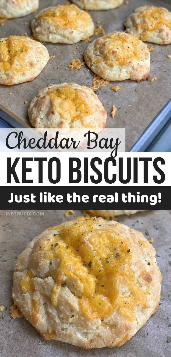 Looking for quick and easy keto recipes for beginners? These low carb cheesy keto biscuits are made with simple ingredients that you probably already have, including almond flour, cheddar and sour cream. They are the best keto bread substitute, and wonderful served as a side dish to any low carb meal. These keto copycat cheddar bay biscuits are amazing comfort food. Great for on the go at work, too. Your entire family will love them! Add these to your meal plan. Perfect for lunch, dinner, breakfast or even snacks.