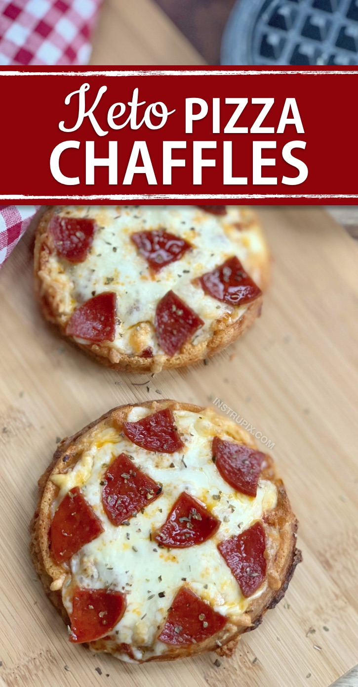 Easy Keto Pizza Chaffles Made With Almond Flour | A quick and easy low carb dinner or lunch idea! Great for last minute meals when you don't feel like cooking. The best easy keto crispy pizza crust!