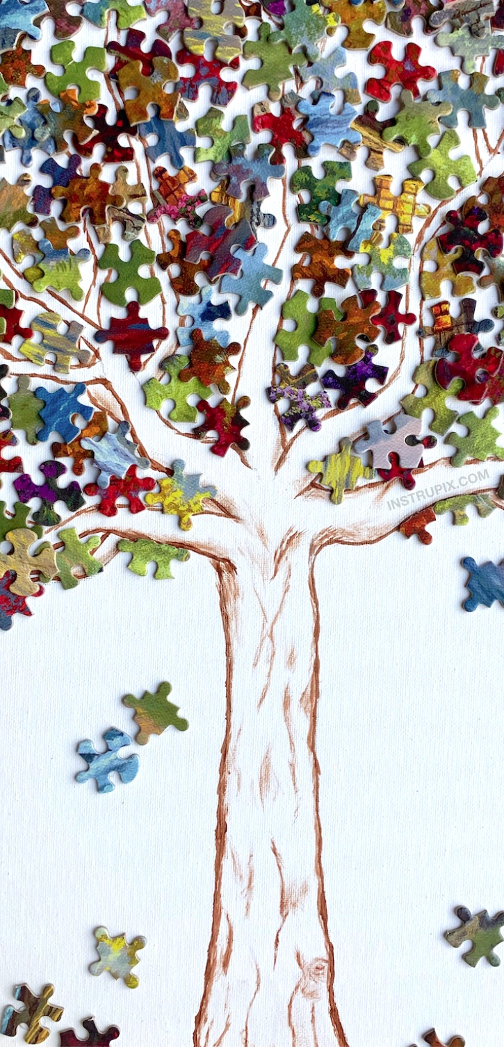 Easy DIY Puzzle Piece Wall Decor Ideas -- A fun and creative craft idea to try! Awesome puzzle piece canvas tree project for teenagers and adults. This simple and cheap activity is cool for the home and won't cost hardly anything. A great recycling project! If you're looking for simple puzzle activities, this one is so much fun to try. #instrupix #craftideas #diywalldecor