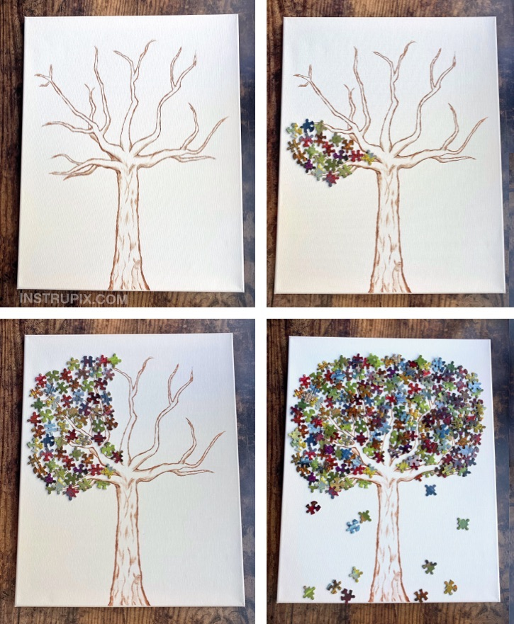 Fun DIY Puzzle Piece Craft Ideas For Kids, Teenagers and adults! These creative projects are perfect for room decor, wall decor, gifts and more. DIY Puzzle Piece Tree Canvas Art Project #instrupix
