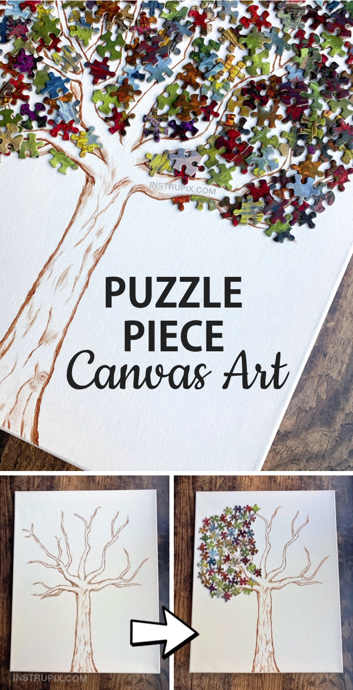 DIY Puzzle Piece Wall Decor Art Idea -- A fun and creative craft idea to try! Awesome project for teenagers and adults. This simple and cheap project is cool for the home and won't cost much. Great way to recycle, too! If you're looking for simple activities, this one is so much fun to make. #instrupix #craftideas #diywalldecor