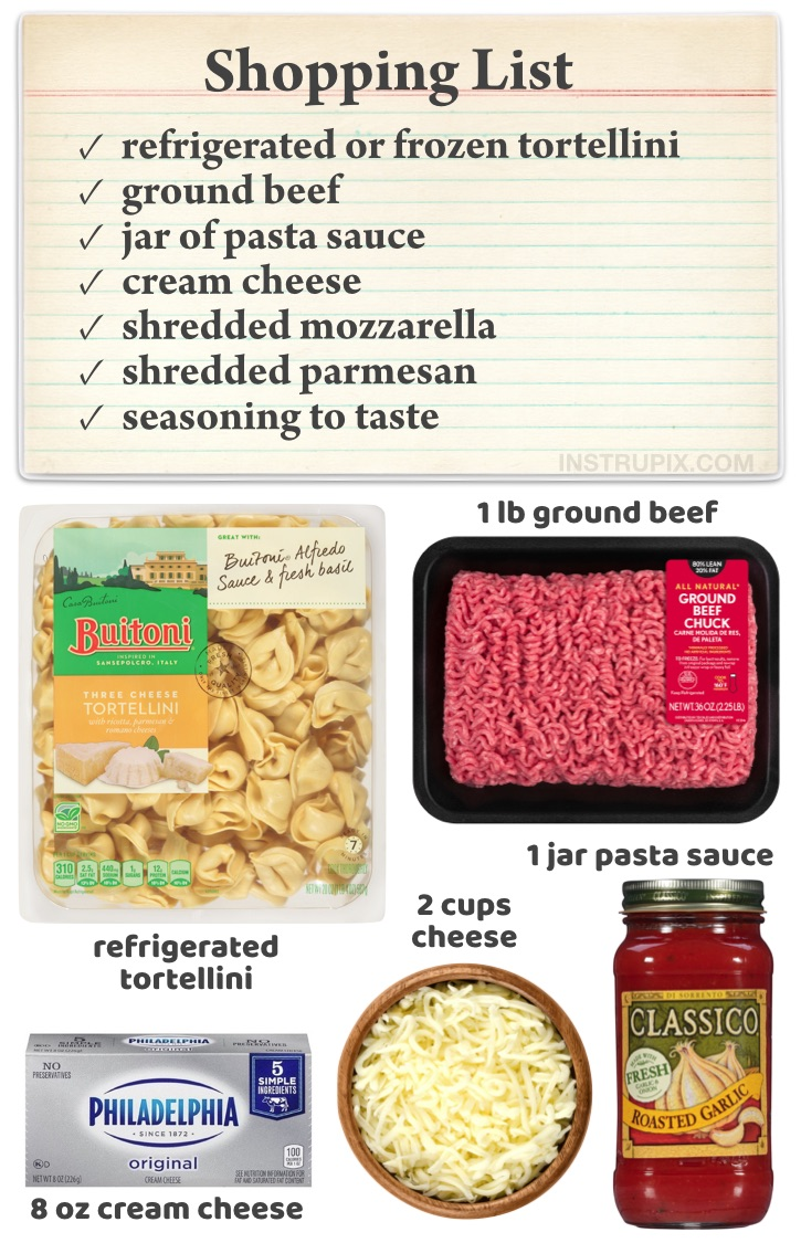 Quick and easy dinner recipes for a family with kids! These cheesy baked tortellini casserole is absolutely delicious and feeds a large hungry family, plus it's made with really simple and cheap ingredients including ground beef, pasta, pasta sauce, cream cheese and shredded mozzarella. The best Italian dinner recipe!