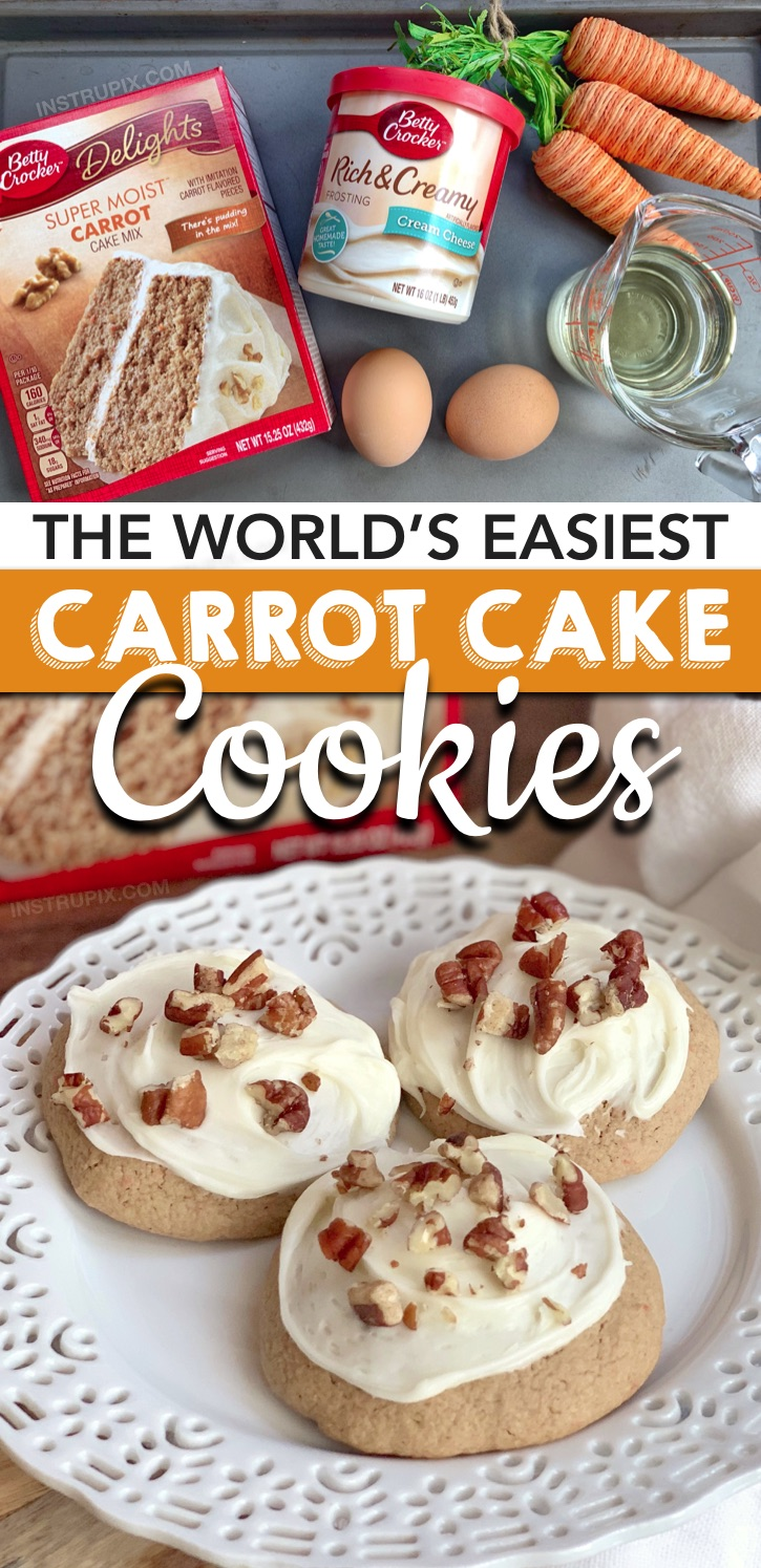 Looking for quick and easy cookie recipes with just 4 ingredients? These Easy Carrot Cake Cookies With Cream Cheese Frosting are made with just 4 simple ingredients: Betty Crocker carrot cake mix, eggs, oil and cream cheese frosting. These unique cookies are THE BEST spring and easter dessert idea! Perfect for a party or crowd. Kids and adults love them! #instrupix #cakemixcookies #easter #spring