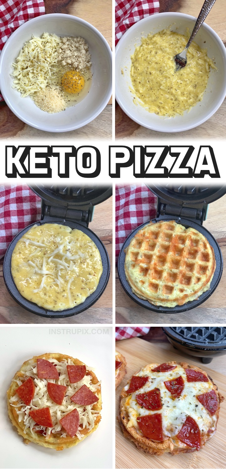 5 Minute Keto Pizzas Made With Almond Flour & Cheese - The BEST low carb pizza crust! These crispy pizza chaffles are so quick and easy to make thanks to almond flour and cheese. They seriously taste like the real thing! You will not be missing carbs with these mini low carb pizzas. This