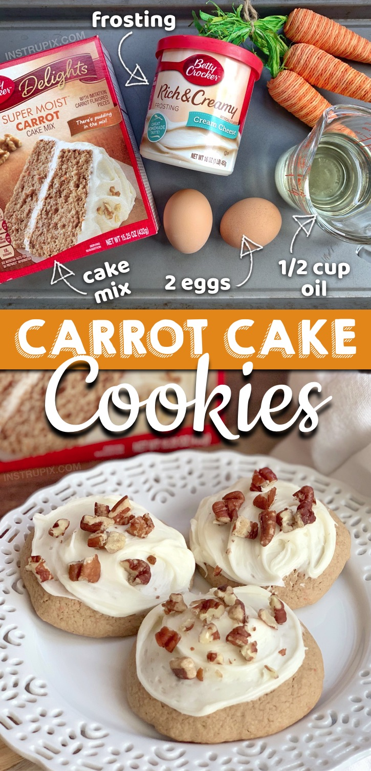 Looking for quick and easy cookie recipes made with just 4 ingredients? These Carrot Cake Mix Cookies With Cream Cheese are made with simple and cheap ingredients: a box of Betty Crocker carrot cake mix, eggs, oil and store bought cream cheese frosting. These fun and unique cookies from cake mix are THE BEST Easter party or potluck dessert idea! Perfect for any spring party or get-together. Kids and adults both love them! #instrupix