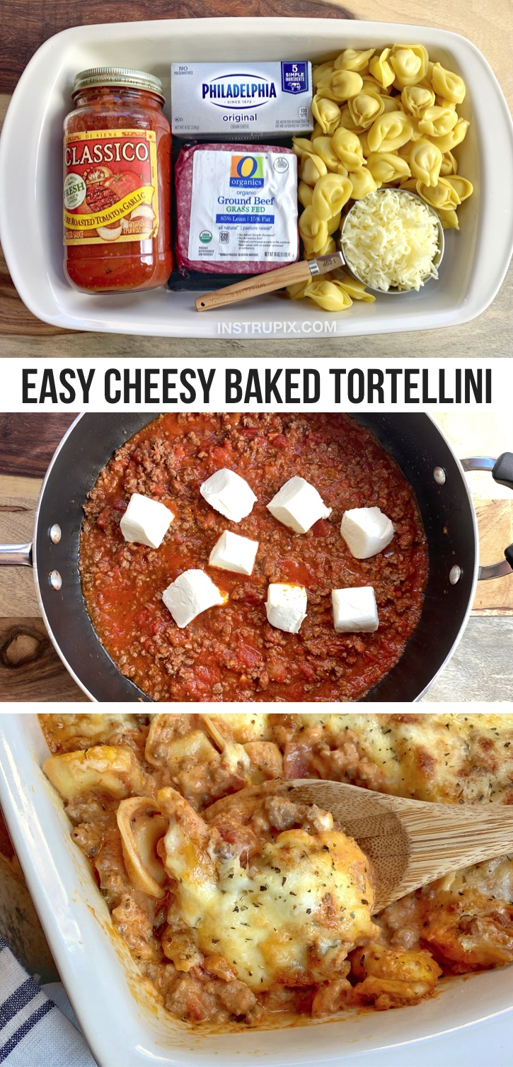 Looking for quick and easy ground beef dinner recipes for picky eaters? Kids and adults love this baked tortellini casserole! It's so simple to make with just 5 cheap ingredients: ground beef, cream cheese, mozzarella, tortellini and tomato sauce. It's the perfect week night meal for large families with kids (especially on busy weeknights for moms and dads). If you're looking for cheap and easy meals for dinner, this pasta recipe is always a hit-- toddlers, teens and even the hubby will love it!