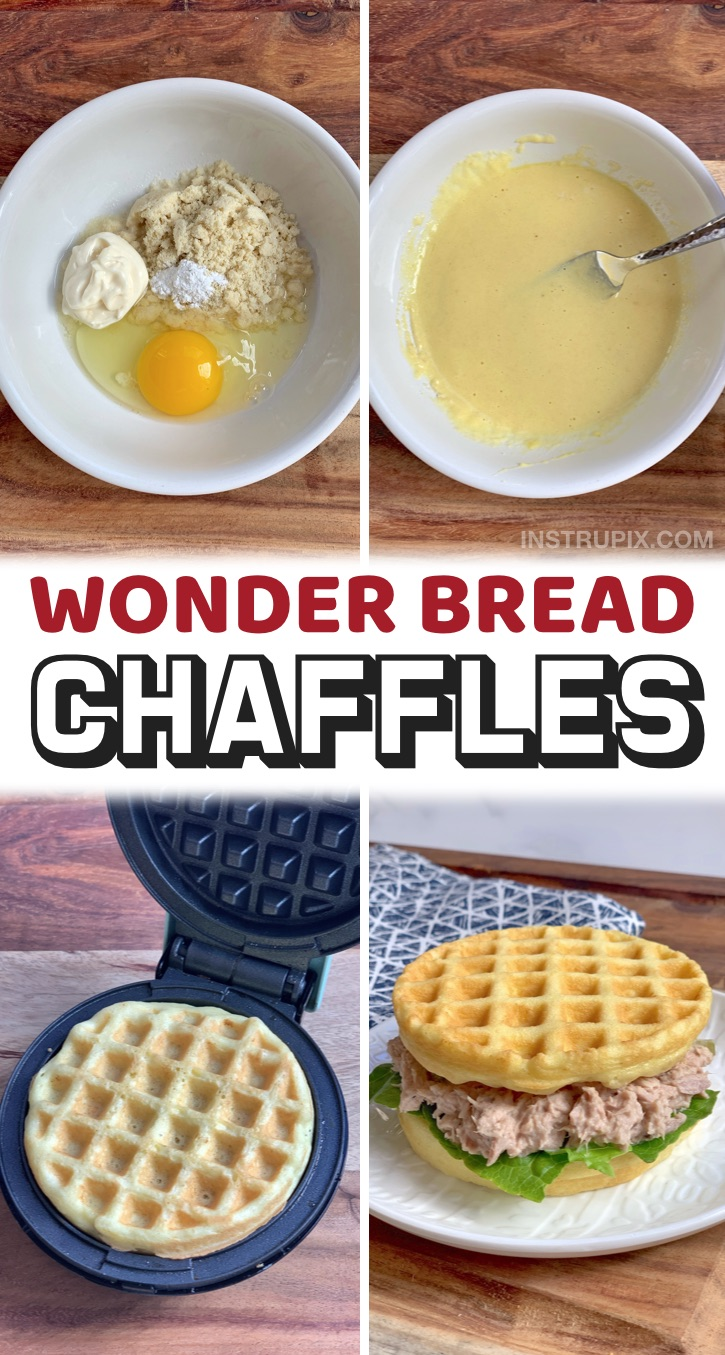 Soft Keto Sandwich Bread Recipe- Easy keto sandwich bread recipe made in your mini waffle maker! These low carb chaffles are so quick and simple to make in less than 5 minutes, & they taste so soft and yummy just like Wonder Bread. They make for the best keto sandwiches- deli meat, tuna, grilled cheese or anything else you'd like. Plus, they are made with NO CHEESE, just a few keto pantry staples that you probably already have on hand: mayo, almond flour and egg. If you're looking for easy keto recipes, this a must have basic.