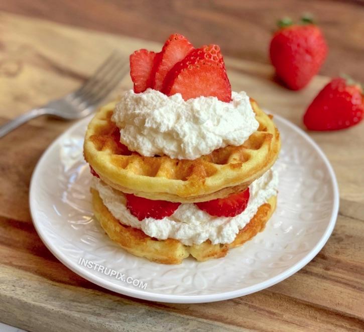Keto Strawberry Shortcake Chaffles -- An easy sweet low carb dessert idea!