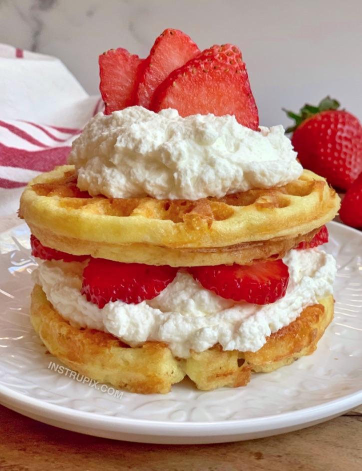 Easy Keto Sweet Strawberry Shortcake Chaffles Recipe From Instrupix.com
