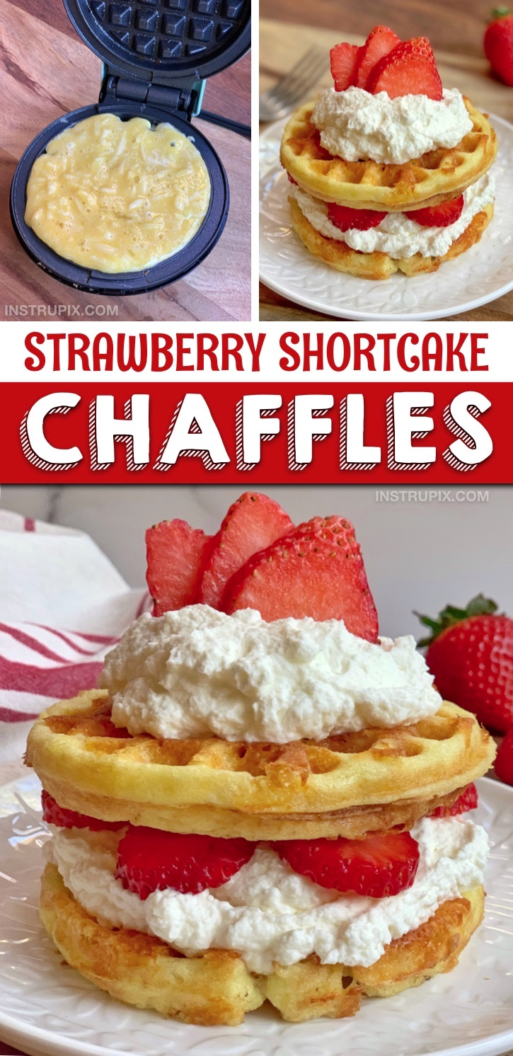 Easy keto & low carb sweet strawberry shortcake chaffles -- quick and easy keto friendly dessert recipe to make in your mini waffle maker with cream cheese and almond flour. The BEST keto dessert idea for one! A simple and delicious keto dessert recipe for beginners, too. Yum! #instrupix #keto #chaffles