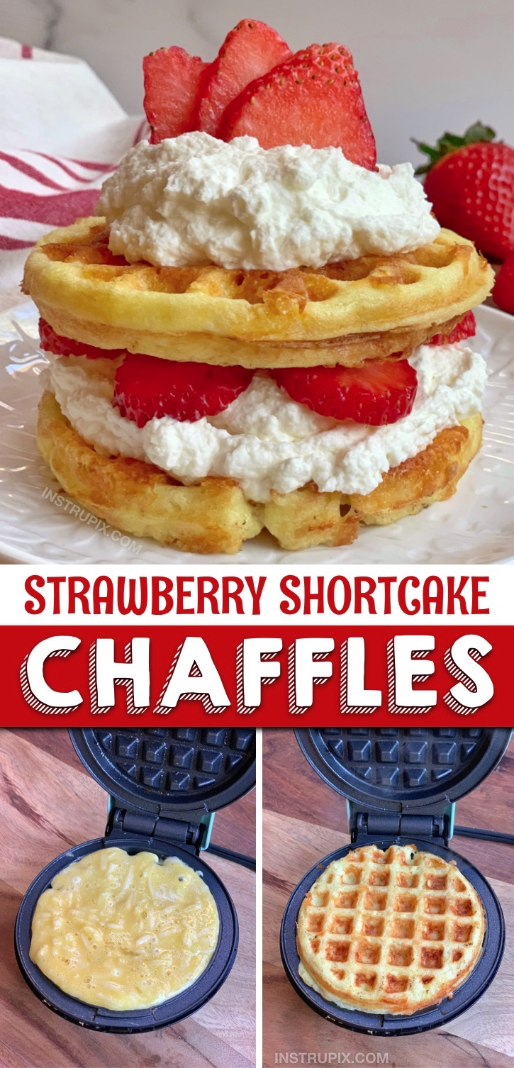 Looking for quick and easy low carb dessert recipes? These keto sweet strawberry shortcake chaffles are so simple to make in your mini waffle maker with cream cheese and almond flour. The BEST keto and low carb sweet recipe! Keto friendly and atkins approved. Yum! #instrupix #keto #chaffles