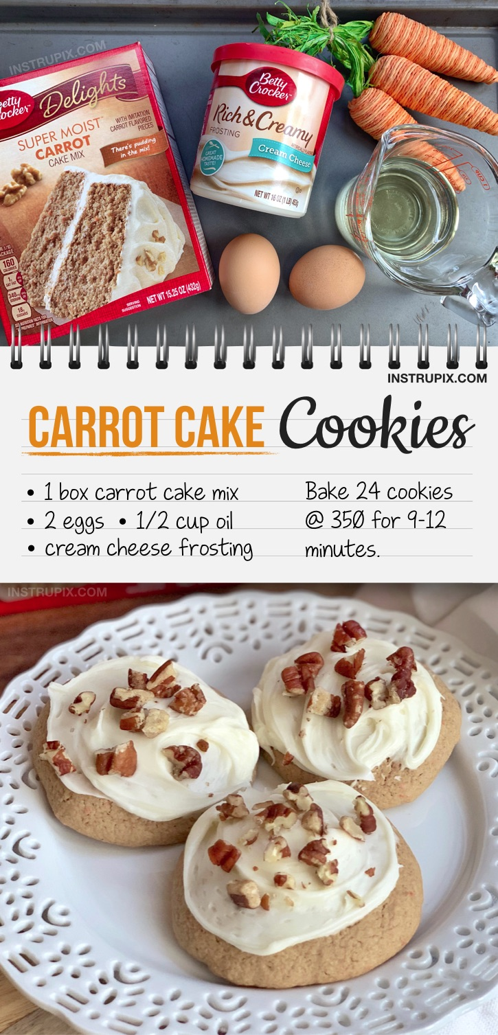 Looking for unique cookie recipes? These quick and easy carrot cake cookies with cream cheese are perfect for spring and Easter parties, and made with just 4 ingredients! Simply bake the cake mix with eggs and oil, and then top with a store-bought cream cheese frosting. They are soft, simple and delicious! A super fun cookie idea even the kids can make. This is my favorite Easter dessert recipe for a crowd. Even if you don't like baking, these cookies are so easy to make, they'll become a spring tradition.
