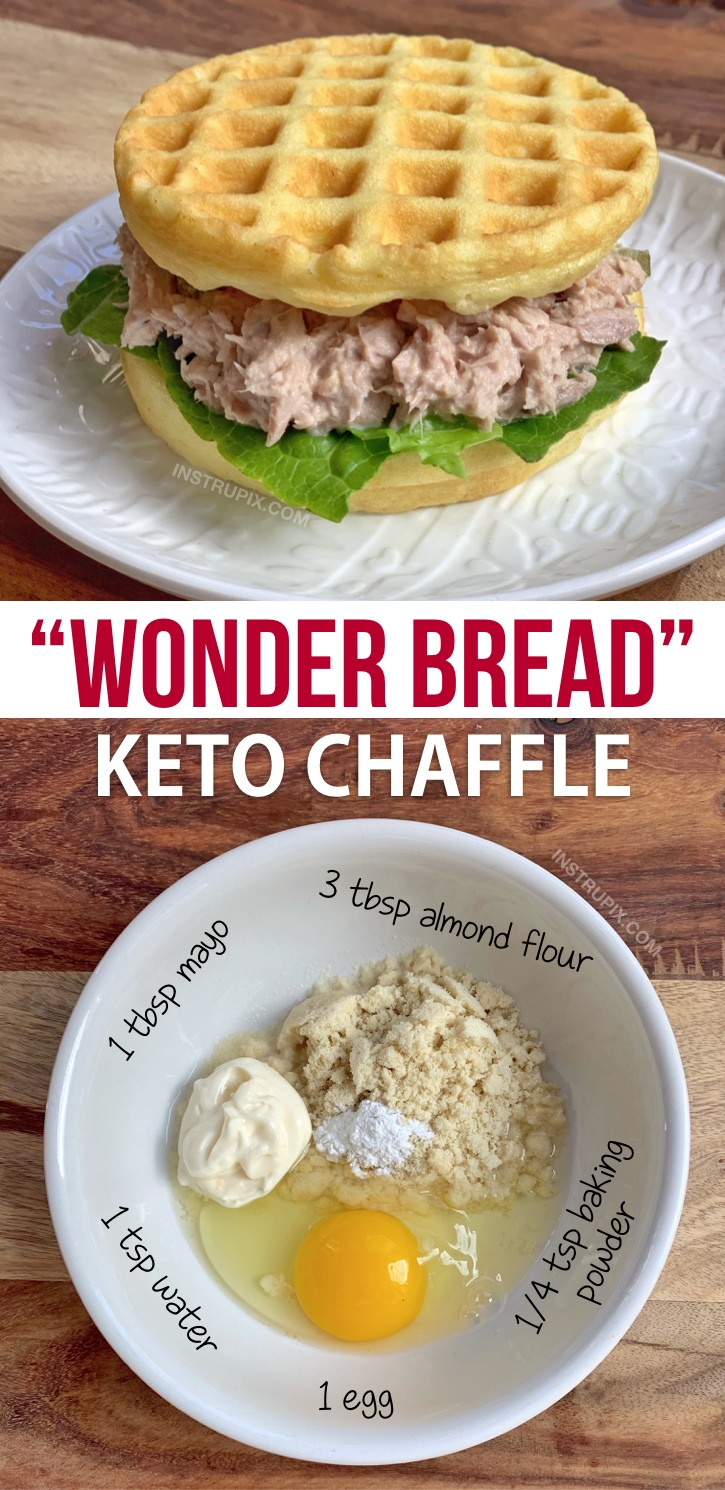 Wonder Bread Chaffle Recipe made with mayo, almond flour, an egg and baking powder! Quick, easy, keto and delish! This low carb soft white bread is a breeze to make in your mini waffle maker. If you're looking for keto waffle sandwich bread recipes, this simple recipe is the only one you need! #keto #lowcarb #chaffles #wonderbread #instrupix