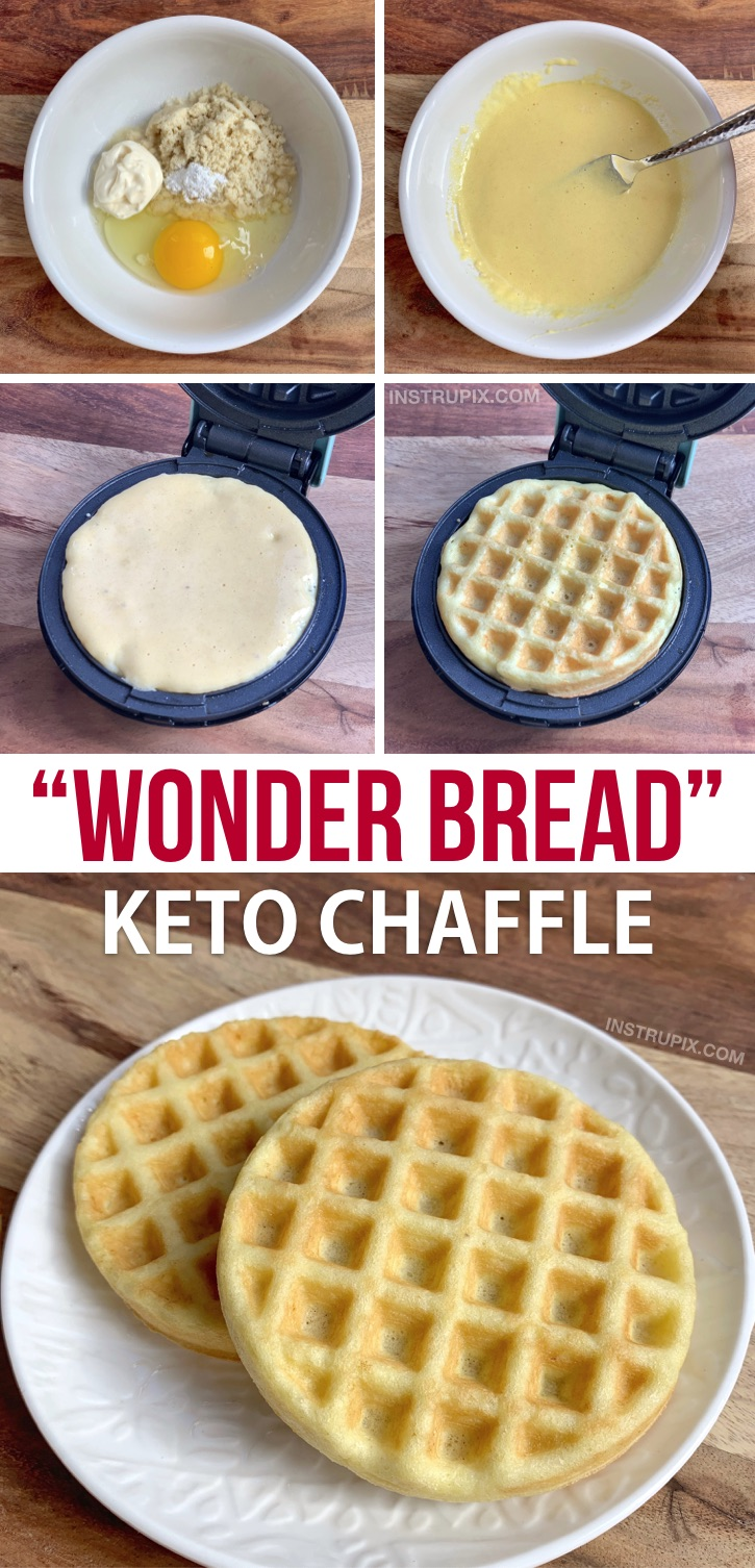 Easy Wonder Bread Keto Chaffle Recipe-- Quick to make in your mini waffle maker! This keto sandwich bread recipe is made with just mayo, almond flour, an egg and baking powder. It's just like soft white bread but keto friendly, low carb and guilt-free. Great keto recipe for beginners! #keto #chaffles #lowcarb #instrupix