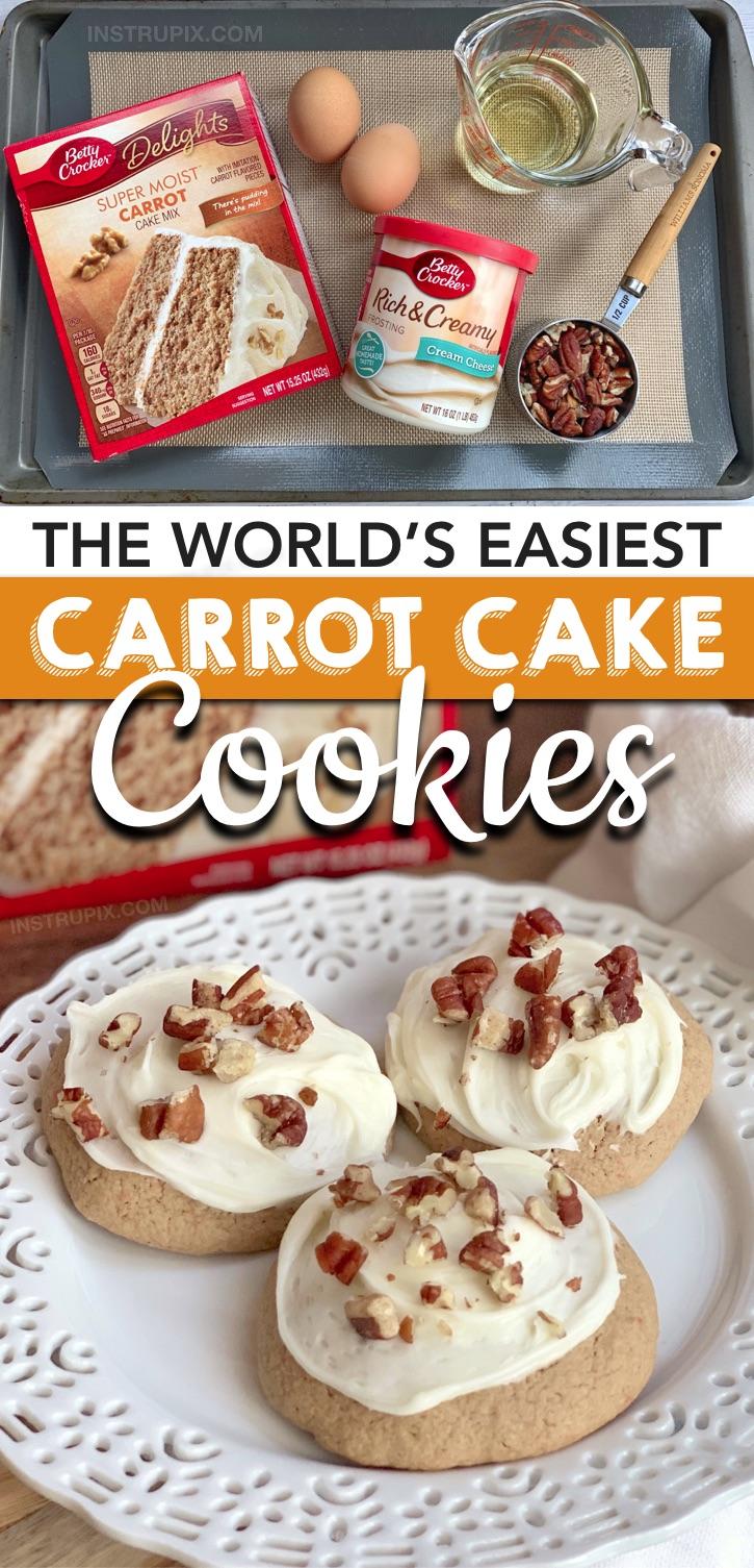Suchen Sie nach schnellen und einfachen Plätzchenrezepten, die mit nur 4 Zutaten zubereitet werden? Diese Karottenkuchen-Mix-Kekse mit Frischkäse werden aus einfachen und billigen Zutaten hergestellt: einer Schachtel Betty Crocker-Karottenkuchen-Mix, Eiern, Öl und gekauften Frischkäse-Zuckerguss. Diese lustigen und einzigartigen Kekse aus der Kuchenmischung sind DIE BESTE Idee für eine Osterparty oder ein Potluck-Dessert! Perfekt für jede Frühlingsparty oder Zusammenkunft. Kinder und Erwachsene lieben sie beide! #instrupix