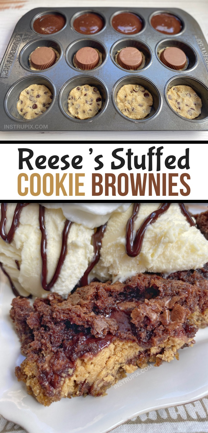 Looking for quick and easy peanut butter chocolate dessert recipes with just 3 ingredients? These peanut butter cup stuffed brownie cookies (brookies) are incredibly easy to bake in a muffin tin! This is seriously the BEST dessert recipe, ever (probably in the history of the world!). They remind me of a fancy lava cake or pizookie served warm with ice cream-- perfect for a crowd! This fun dessert is basically the marriage of a cookie, brownie and Reese's peanut butter cup. Delish! #chocolate #3ingredients #instrupix