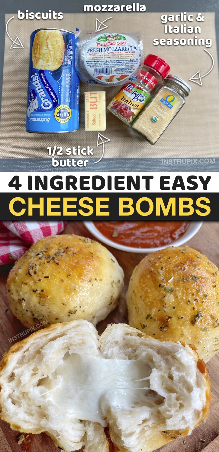 Quick and easy homemade garlic bread recipe stuffed with cheese! The BEST comfort food recipe-- great as a snack, appetizer or game day food. Easy Cheese Bombs made with Pillsbury biscuits, mozzarella, butter and garlic. #instrupix