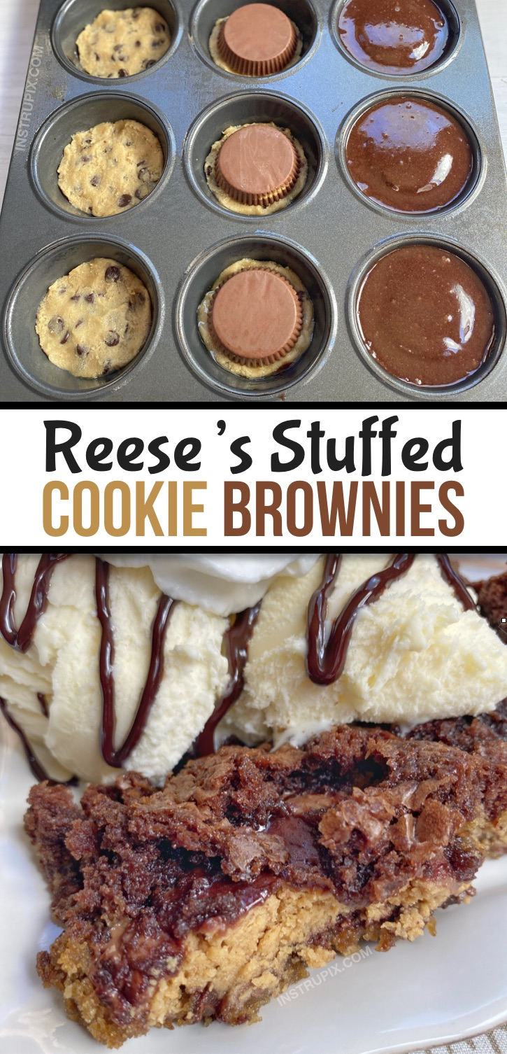 Looking for quick and easy chocolate dessert recipes with just 3 ingredients? These peanut butter cup stuffed cookie brownies (brookies) are incredibly simple to make in a muffin tin! This is seriously the BEST dessert recipe, ever (probably in the history of the world!). They remind me of a fancy lava cake or pizookie served warm with ice cream. This amazing dessert is basically the marriage of a cookie, brownie and Reese's peanut butter cup. #chocolate #3ingredients #instrupix