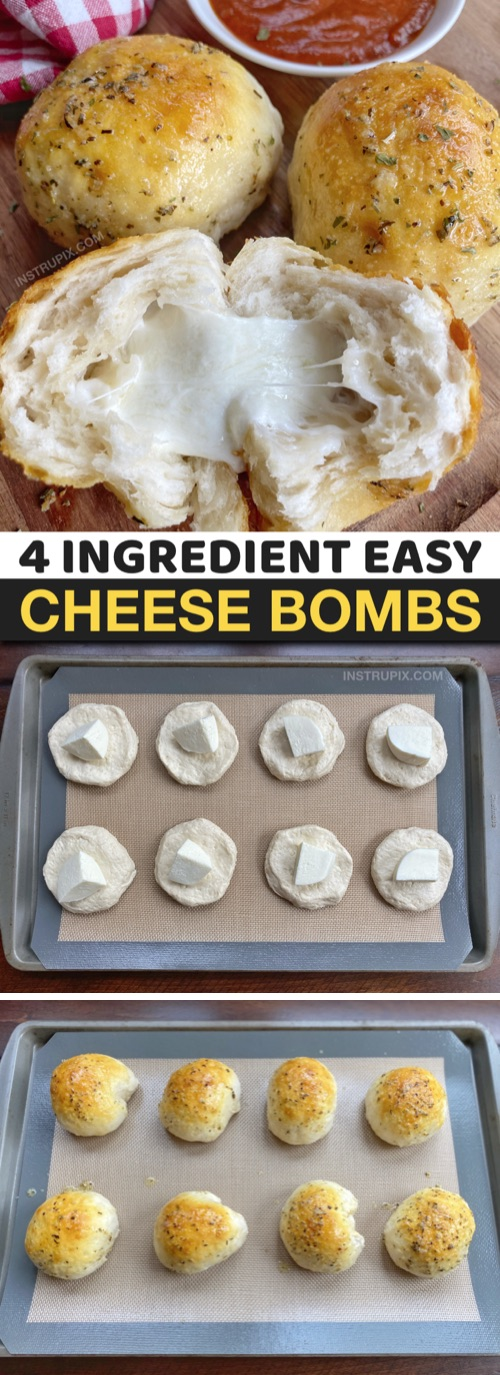 Souther Comfort Food Recipe: Easy Baked Garlic Butter Bread Cheese Bombs made with Pillsbury biscuits! Just 4 ingredients to make this easy party appetizer, snack and game day food recipe. Cheap, quick and easy recipe! #instrupix