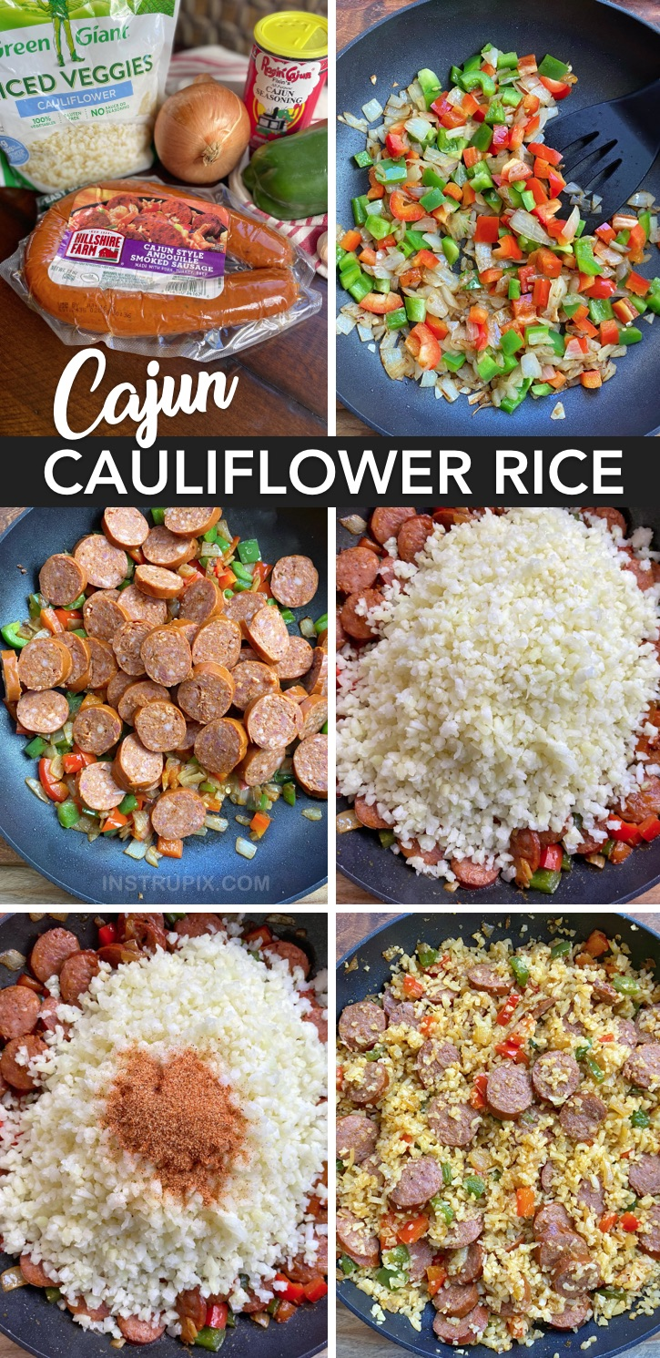 Looking for quick and easy, healthy low carb dinner recipes? This Cajun Cauliflower rice is my favorite keto meal! No cheese! This main dish is so simple to make with just 6 cheap ingredients. Ketogenic, low carb, paleo, and whole30. #keto #lowcarb #paleo #instrupix
