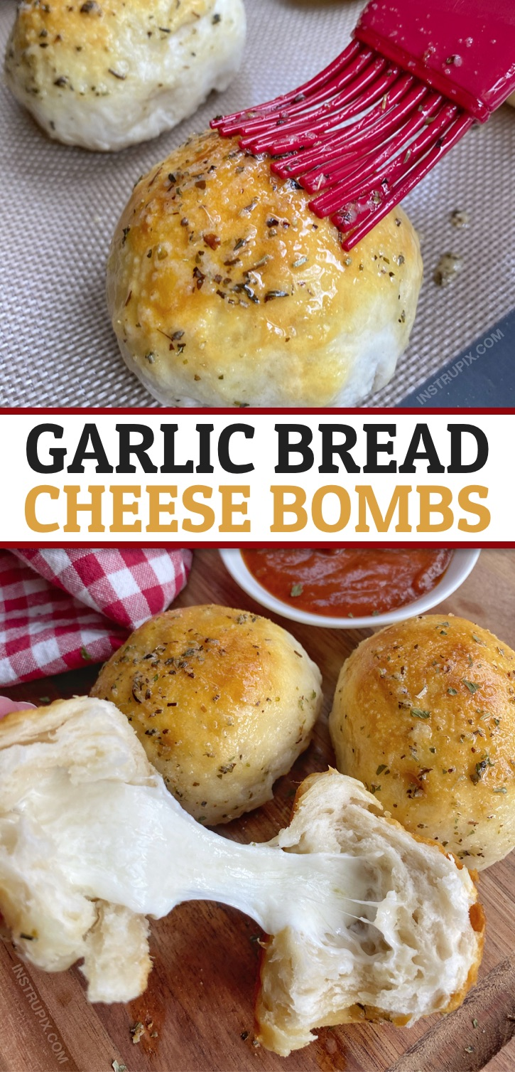 Looking for easy Pillsbury Grands Biscuit recipes? These garlic butter bread cheese bombs are amazing! Made with simple and cheap ingredients! Great for snacks, parties, game day, appetizers or even as a dinner side dish. Your family and friends will love this comfort food recipe, including your picky kids and teenagers. #comfortfood #instrupix