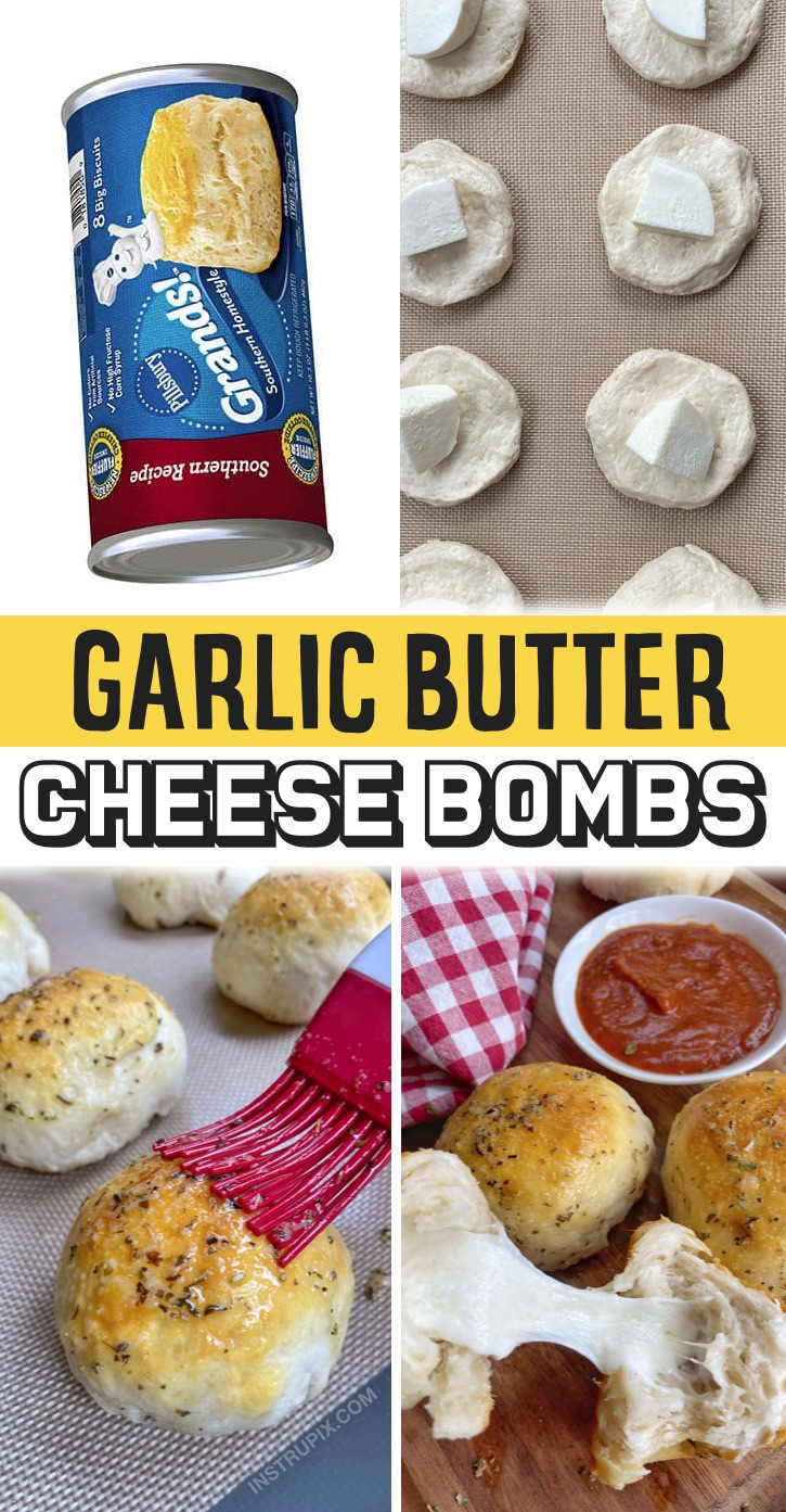 Quick And Easy Snacks For Kids -- Some serious comfort food! My picky kids love these cheese stuffed buttery biscuits (garlic butter cheese bombs). Plus, they are easy enough for older kids and teenagers to make themselves. They are so good dipped in pizza sauce. You simply roll the dough around mozzarella cheese, bake, and then brush on garlic butter. So simple and yummy! These are great as an after school snack or anytime your kiddos have friends over. Fantastic for summer sleepovers! They taste like pizza. Even your picky eaters will love them.