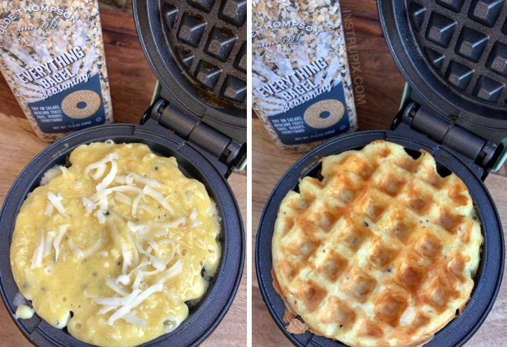 Keto Low Carb Breakfast Recipe Idea: Everything Bagel Chaffles made with almond flour in a mini waffle maker.