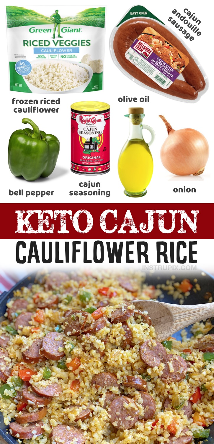 If you're on the hunt for healthy and low carb dinner recipes, this cajun sausage and cauliflower rice is incredibly quick and easy to make with just a handful of simple ingredients in just one pan!. A simple low carb meal that is hearty and filling enough to be served as a main dish. I've struggled to find low carb and keto dinner recipes that don't require a pound of cheese to taste good, but this cajun sausage & cauliflower rice is simply incredible. You'll just need 6 ingredients to make it!