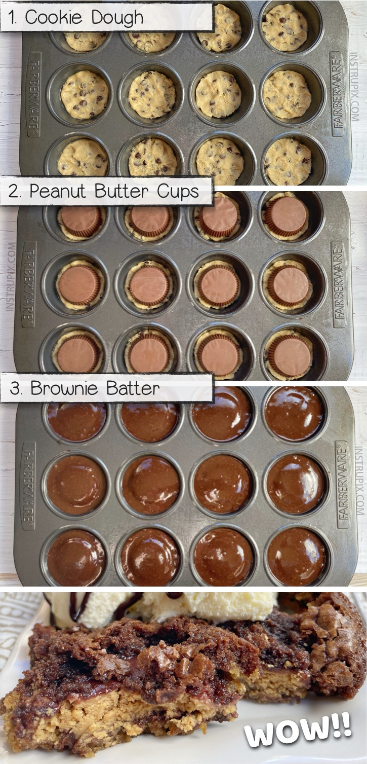 Looking for quick and easy chocolate peanut butter dessert recipes for a crowd? These 3 ingredient peanut butter stuffed brookies are so simple to bake in a muffin tin! This is seriously the BEST dessert recipe, ever in the history of the world! A fancy and fun sweet treat! This yummy dessert recipe is basically a brownie, cookie and Reese's peanut butter cup sandwich. Delish! #chocolate #3ingredients #instrupix