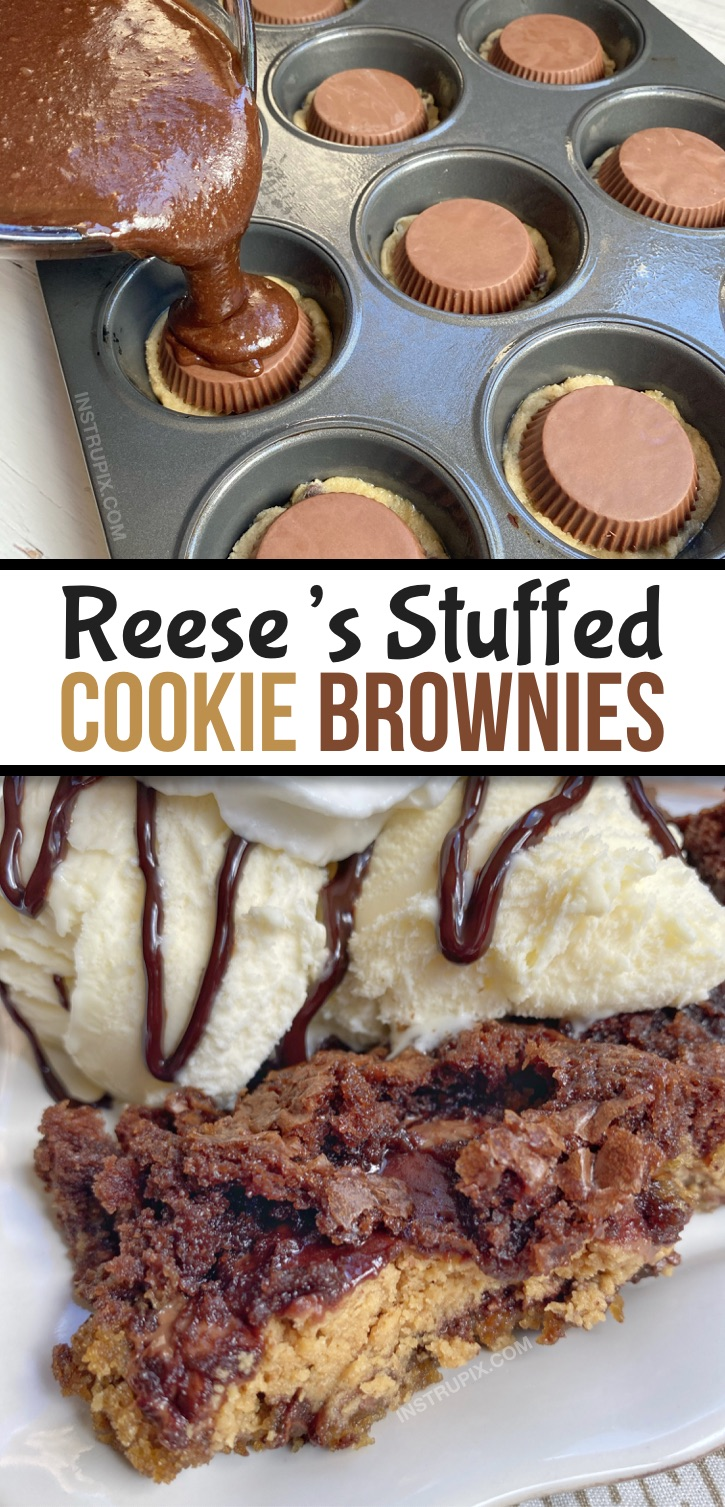 Looking for quick and easy peanut butter dessert recipes with just 3 ingredients? These peanut butter stuffed brookies are incredibly simple to bake in a muffin tin! This is seriously the BEST dessert recipe, ever (probably in the history of the world!). Fancy and fun! Like a lava cake or pizookie served warm with ice cream-- perfect sweet treat for a crowd! This fun dessert recipe is basically a cookie, brownie and Reese's peanut butter cup sandwich. Delish! #chocolate #3ingredients #instrupix