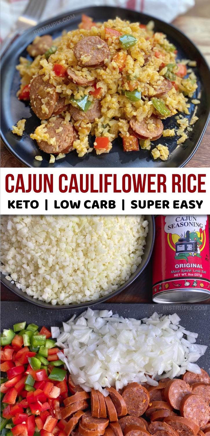 Looking for quick, easy and healthy keto dinner recipes? This cajun cauliflower rice is made with just 5 simple ingredients and it's absolutely delicious! Frozen cauliflower rice, sausage, bell pepper, onion and cajun seasoning. Loaded with veggies! Make this simple keto dinner recipe a part of your meal plan. It's perfect for busy weeknights and made in just ONE pan. Gluten free, low carb, keto friendly and budget friendly. #lowcarb #keto #dinnerrecipes #instrupix #onepan #ketorecipes