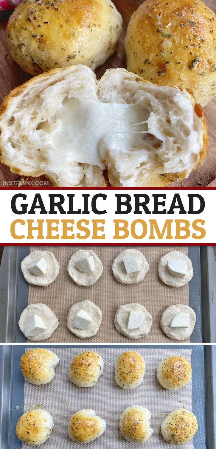 Looking for quick and easy comfort food ideas? These garlic butter cheesy bread bombs are my family's favorite comfort food recipe! They are made with simple ingredients including Pillsbury Biscuits. Great for snacks, appetizers or even as a yummy dinner side dish. The entire family will enjoy this easy cheesy stuffed garlic bread recipe made with Pillsbury-- kids and adults! #comfortfood #instrupix