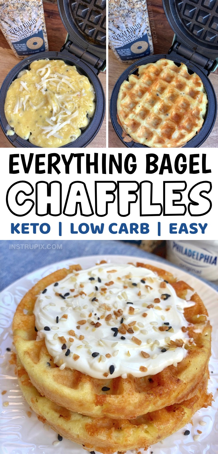 If you're on the hunt for quick and easy keto breakfast recipes, these low carb everything bagel chaffles are so simple to make with almond flour, mozzarella cheese, an egg and everything bagel seasoning. Top with cream cheese! Yum. You're going to love this keto recipe for busy mornings and even on the go to bring to work with you. So crispy and tastes like the real thing! These are the best keto breakfast waffles, especially with if you want something different and not sweet. #keto #lowcarb
