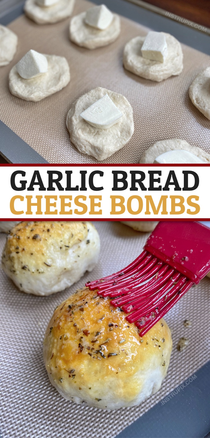Looking for quick and easy Pillsbury Grands Biscuit recipes? These garlic bread cheese bombs are THE BEST comfort food made with simple and cheap ingredients! Great for snacks, parties, appetizers or even as a side dish for dinner. Your family and friends will love this cheese stuffed garlic bread, including your picky kids. #comfortfood #instrupix