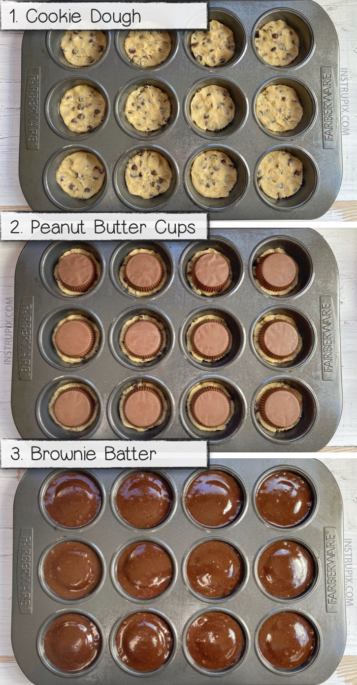 Looking for simple chocolate peanut butter desserts? These quick and easy 3 ingredient peanut butter stuffed brownies and cookies are so fun to bake in a muffin pan! This is seriously the BEST dessert recipe in the world! Ever! This fancy sweet treat is basically a brownie, cookie and peanut butter sandwich. Delicious food! #chocolate #3ingredients #instrupix