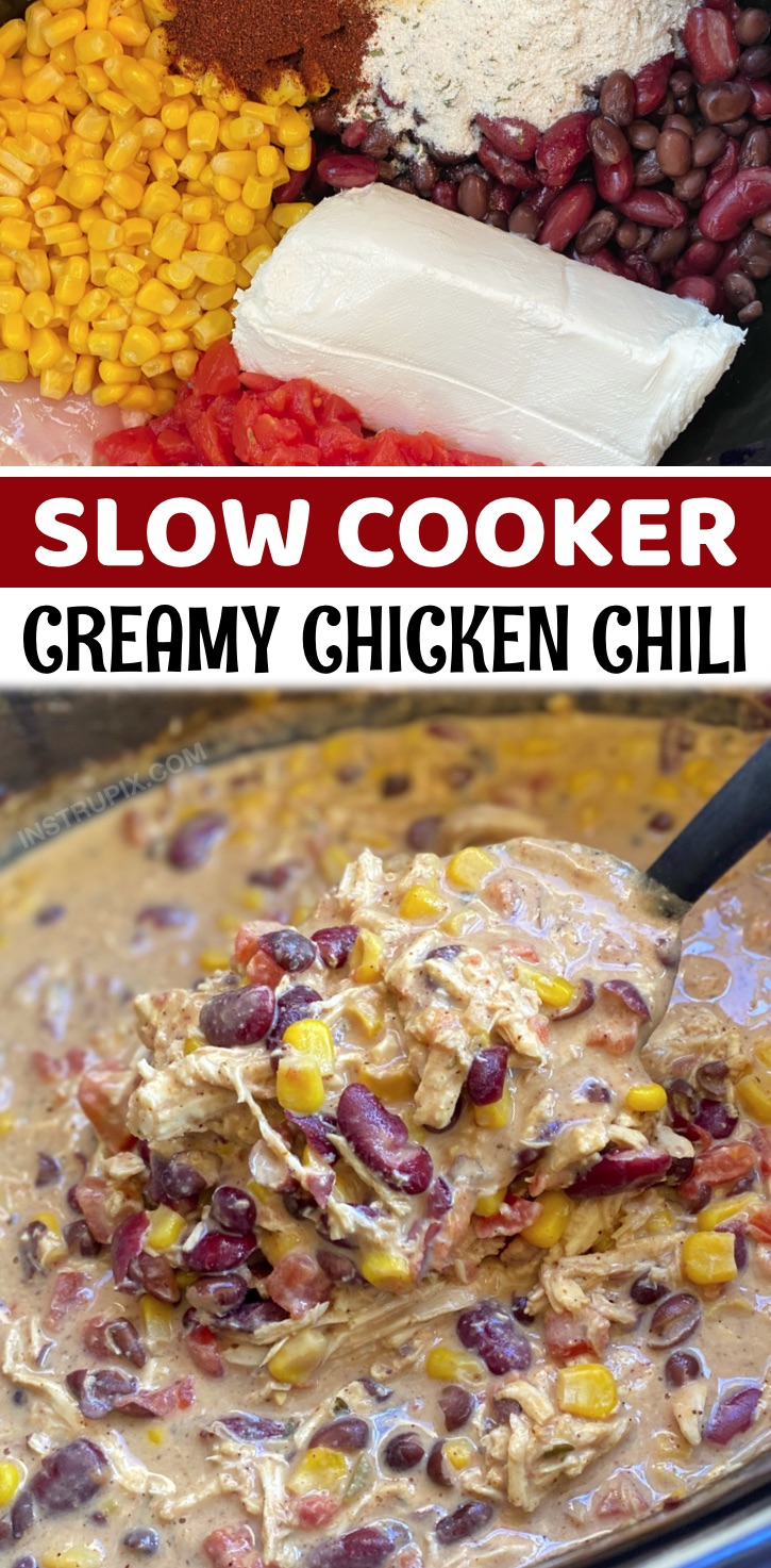If you're looking for slow cooker dinner recipes to feed even your picky eaters, this creamy chicken chili is made with simple ingredients and is always a hit! It's perfect for busy week night meals or anytime you want something easy and delicious to eat. You simply dump a few chicken breasts, chicken broth, cream cheese, ranch seasoning, chili powder, cumin, garlic powder, cheese, tomatoes, beans and corn into a crockpot, set it on low for about 6 hours, and BAM! The BEST family dinner recipe.