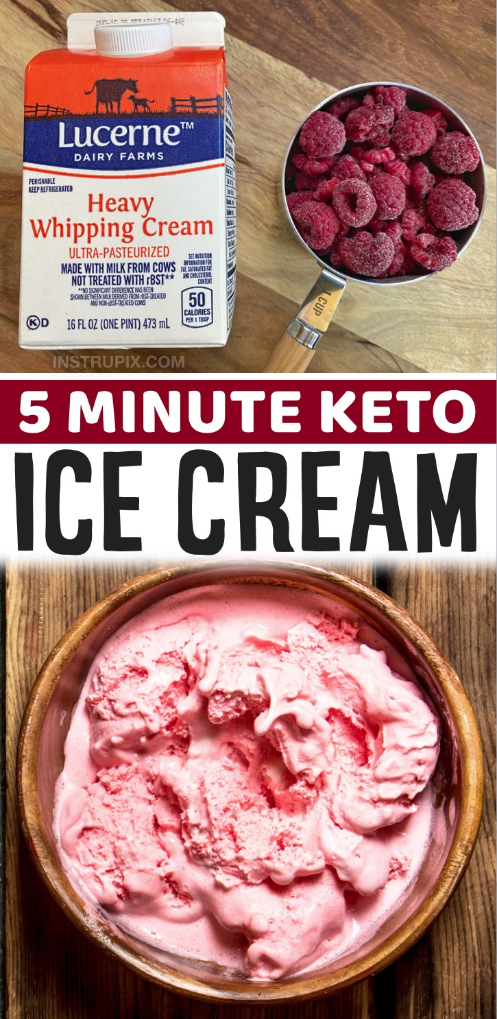 Keto Dessert Recipes For One | Easy Keto No Churn Ice Cream (just 3 ingredients to make this simple low carb treat!) Simply mix together frozen raspberries, heavy cream and the low carb sweetener of your choice. A great 5 minute last minute dessert idea! So quick and easy to make. Perfect for summer or anything you're craving something sweet.